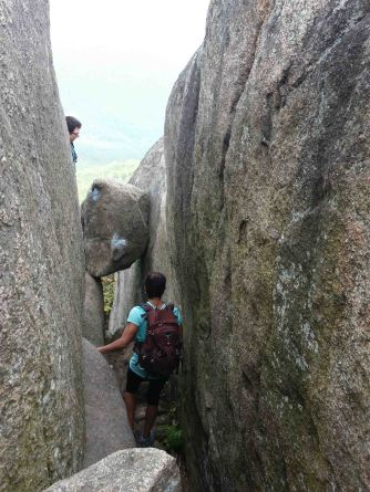 One of our trail friends leads the way through a tricky part of Old Rag