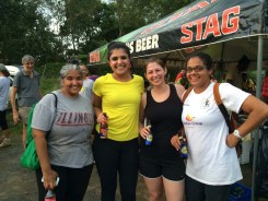 Enjoying beer and soda at the finish