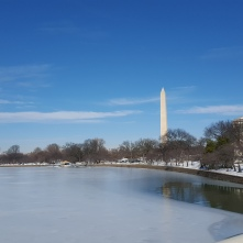 The Tidal Basin and Washington Monument in winter.