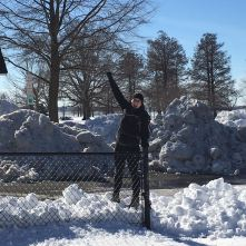 Standing tall on a snowbank.