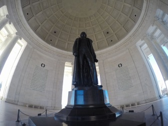 President Jefferson looking out over the city.